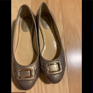 Cole Haan buckled gold metallic patent ballet flat